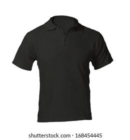 Men's Blank Black Polo Shirt, Front Design Template