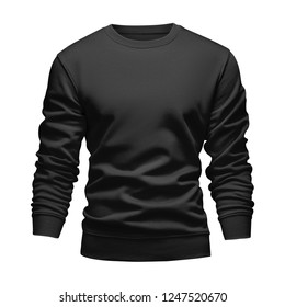 Men's blank mockup black sweatshirt wavy concept with long sleeves isolated white background. Front view empty template pullover with clipping path. Blank design warm winter clothes sweater for print.