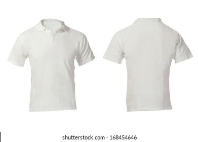 Men's Blank White Polo Shirt, Front and Back Design Template