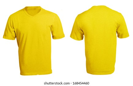Mens Blank Yellow V Neck Shirt Front And Back Design Template