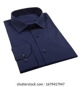 Men's blue folded shirt with collar