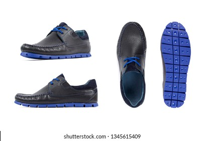 Men's blue moccasins, loafers isolated white background. Side view, top view and sole