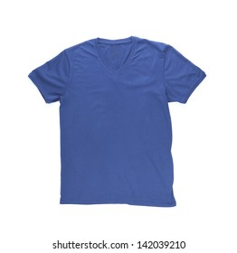 Men's blue T-shirt with clipping path on the white background.