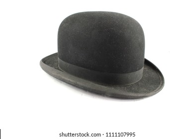 A Men's Bowler Hat Cap Old Fashioned on White Background