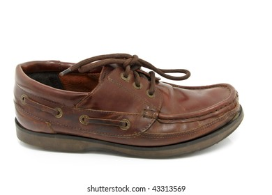 Men's brown loafer shoe isolated on white background