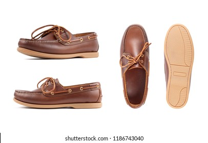 Men's brown moccasins, loafers isolated white background. Side view, top view and sole