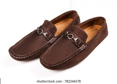 Men's brown suede moccasins, loafers isolated white background.