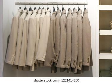 men's cashmere jackets on hangers