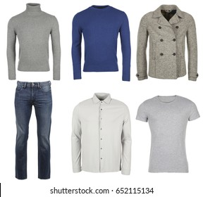 mens casual clothes on white background