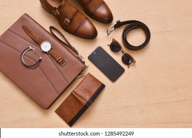Men's casual outfit. Men's fashion accessories on white background, flat lay