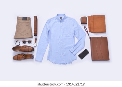Men's casual outfit. Men's fashion clothing and accessories on white background, flat lay, top view