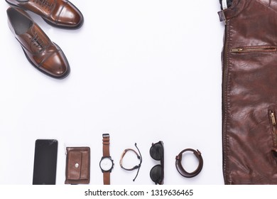 Men's casual outfit. Men's fashion clothing and accessories on white background, flat lay