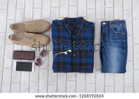 ab9a4daa4b8f Men's casual outfit. Men's fashion clothing and accessories, flat lay, ...