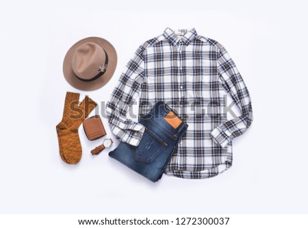 5e0639c1d5f8 Men's casual outfit. Men's fashion clothing and accessories on white  background, ...