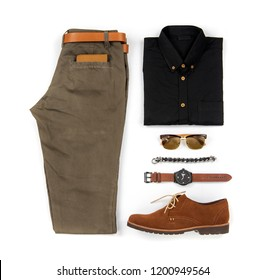 Men's casual outfits for man clothing set with brown shoes , watch, belt, bracelet, sunglasses, trousers, black shirt,  and wallet isolated on a white background, Top view