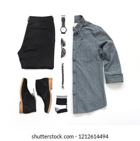 Men's casual outfits for man clothing set with black shoes , watch, sock, trousers, gray shirt and bracelet isolated on a white background, Top view