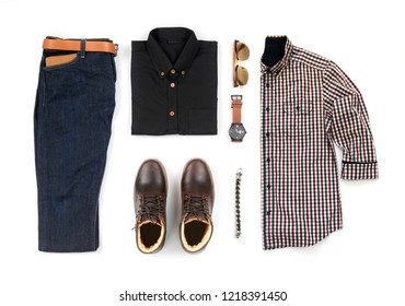 c636fe9b6141 Men's casual outfits for man clothing set with brown boot , watch, blue  jeans,