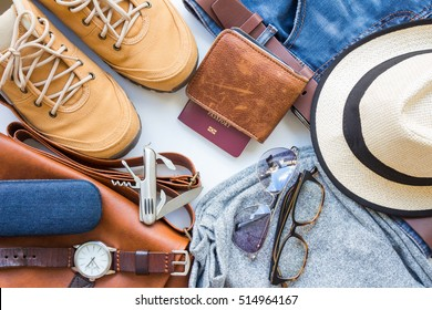 Men's casual outfits with man clothing, travel preparations and accessories on white background