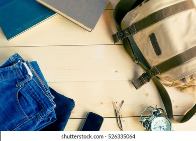 Men's casual outfits on wood table background