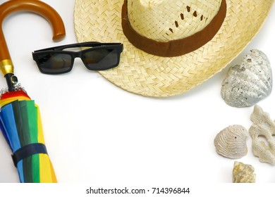 Men's casual summer clothes with accessories items on white background, overhead top view
