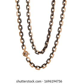 Men's Chain made of ceramics and pink gold with a diamond isolated on a white background