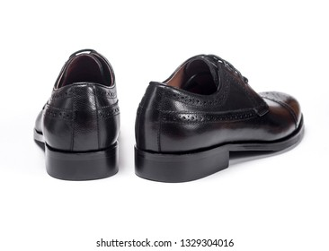 Men's Classic Black Leather Shoes Isolated on White Background.back view