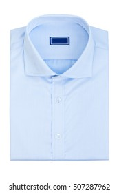 Men's classic blue folded cotton shirt with long or short sleeve and blue blank label isolated on white background.