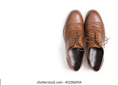 Men's classic brown leather shoes isolated on white background