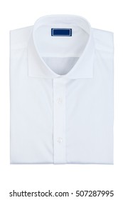 Men's classic white folded cotton shirt with long or short sleeve and blue blank label isolated on white background.
