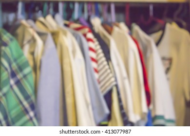 Men's clothes in the closet. For blur background.