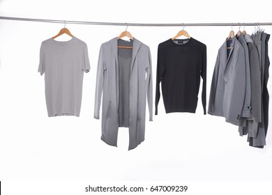 men's clothes shirts with jacket ,coat on hangers