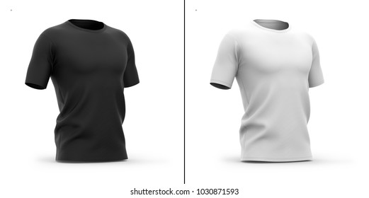 Men's crew neck t shirt with short sleeves. Half-front view.3d rendering. Clipping paths included: whole object, collar, sleeves. Shadows and highlights mock-up templates.