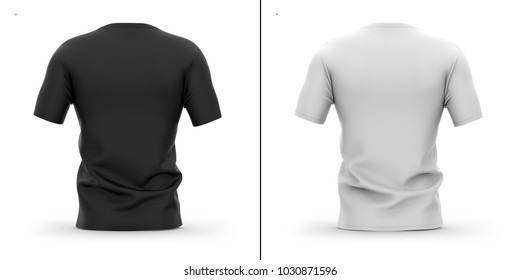 Men's crew neck t shirt with short sleeves. Back view. 3d rendering. Clipping paths included: whole object, collar, sleeves. Shadows and highlights mock-up templates.