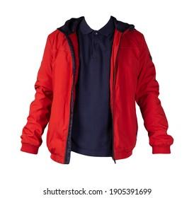 men's dark blue t-shirt and hakki jacket zipper  isolated on white background.casual clothing