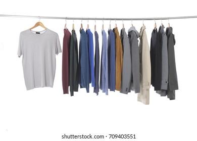 men's different , shirt ,coat, jacket ,coat, , on hangers