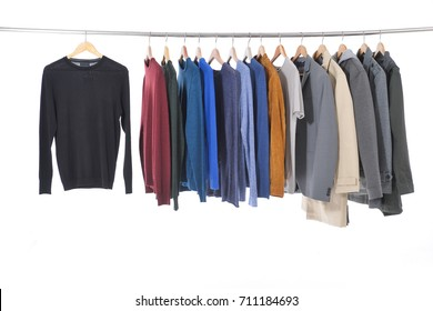 men's different , shirt ,coat, jacket ,coat, , on hangers