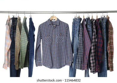 Men's different sleeved plaid cotton with jeans on hanger