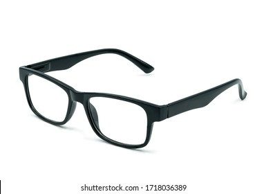 Men's eyeglasses, matte black of frame plastic with lens isolated on white background with clipping path. Fashion classic stlye glasses.