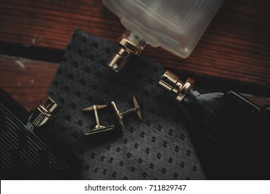 men's fashion accessories. Perfume with tie and cuff
