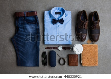 2d2b362ce Mens Fashion Casual Outfits Accessories Flat Stock Photo (Edit Now ...