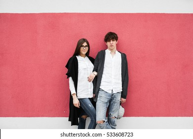 men's fashion, couple walking on the street