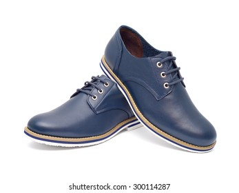 Men's fashion shoes blue, casual design on a white background isolated