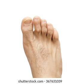 Men's foot on a white background