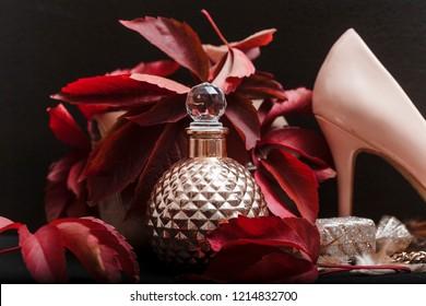 Men's fragrance. Men perfume. Perfume in beautiful bottle with light shadow.