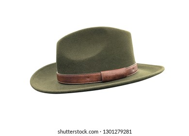 men's green hat isolated on white background