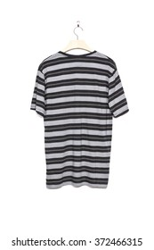 A men's grey t shirts with stripes for summer isolated white.