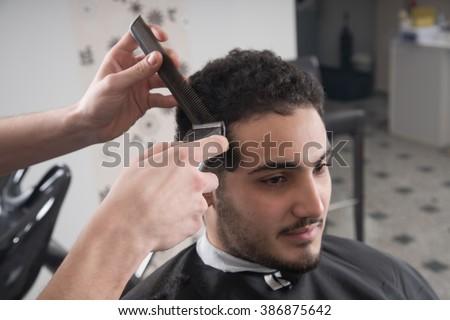 Mens Haircut Barber Scissors Stock Photo Edit Now 386875642