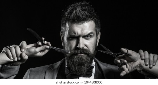 Mens haircut. Barber scissors. Long beard. Bearded man, lush beard, handsome. Handsome bearded. Hipster, brutal man. Mens haircut. Vintage barbershop, shaving. Sexy men. Black and white