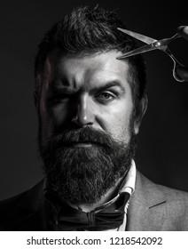 Mens haircut. Vintage barbershop, shaving. Sexy men. Mens haircut. Barber scissors. Long beard. Bearded man, lush beard, handsome. Handsome bearded. Hipster, brutal man.