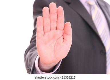 Men's hand signaling stop